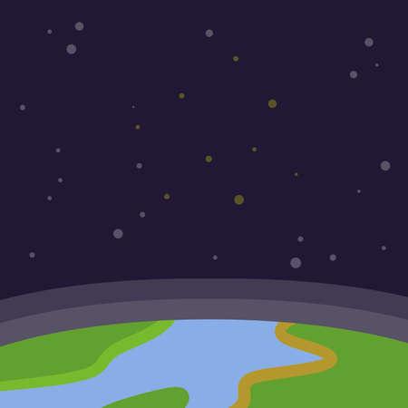 Exploring the world. Space object. Flat cartoon illustration
