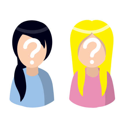 Woman with question mark. Unknown person. Social network avatar. Cute character. Young girl. Flat cartoon illustration Vettoriali