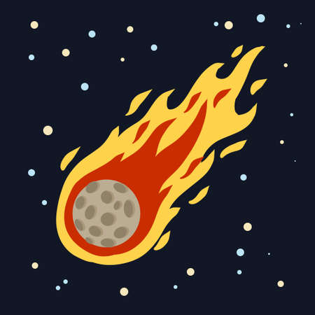 Meteor with trail of fire. Dangerous space object. Comet with tail. Celestial object. Flying in sky. Stars and astronomy. Cartoon flat illustration. Big asteroid Illusztráció