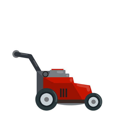 Lawnmower. Gardening machine. Flat illustration. Red trimmer with Gasoline engine. Element for mowing and caring for lawn and grass. Modern model