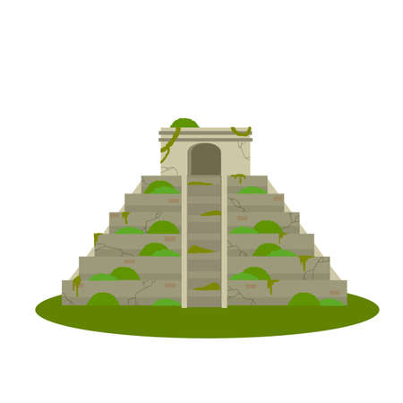 Mayan pyramid. Ancient American culture. Building in green jungle. Tourist attraction of Mexico. Stepped abandoned temple. An old mysterious civilization. Cartoon flat illustration