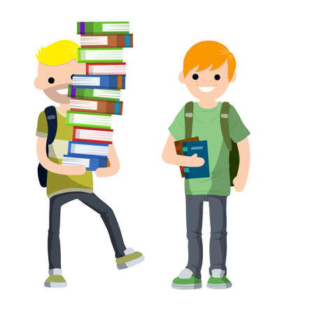 Young students with book and backpack. Boy and man at school. Education and studies. Funny Couple. Guy carries heap of books. Vektoros illusztráció