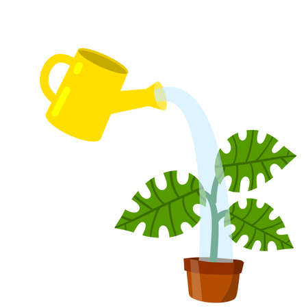 Care for house plant. Yellow watering can with water. Pot with flower and green leaves. Growth and development. Gardening and Hobbies. Flat cartoon isolated on white