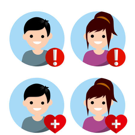Set of avatars people for social network. Boy and girl. Red exclamation mark, heart with cross. Medical health element and alarm. young nerd man and blond woman. Cartoon flat illustration. Status icon Ilustrace