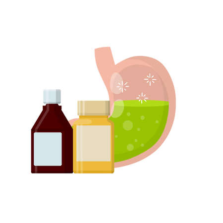 Stomach and pill. Dissolving drug. Disease of human internal organ. Oral preparation application. Cartoon flat illustration. Taking medicine. Medical care. Pain in belly. Capsule and digestion