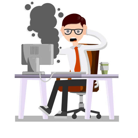 Frightened office worker shouts and holds his head looking at the monitor. A broken computer is Smoking. Virus and bug. The problem with technique. Stress and man.