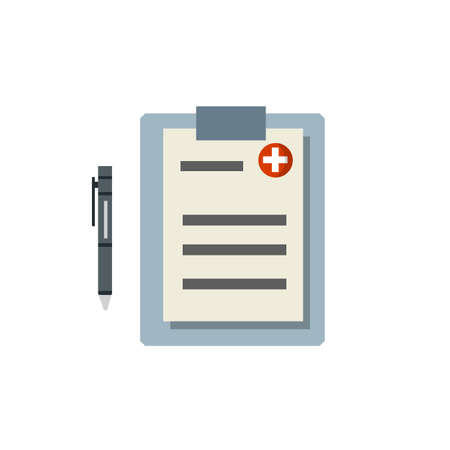 Medical document with sheet, paper and pen. set of objects of hospital. Cartoon flat illustration