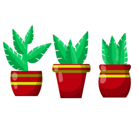 Pot of a house plant. Set of Brown flowerpot. Green leaves and gardening. Decoration for home. Cartoon flat illustration