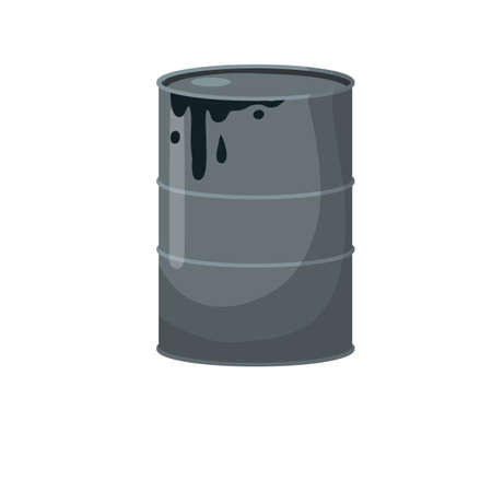 Barrel of oil. Combustible fossil fuel. Petroleum packaging. Black Tank with gasoline. Resource-based economy and industry.