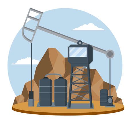Fuel production, heavy industry. Tower to pump black liquid. Middle East, mountains and desert. Oil tank. Natural scenery. Engineer's place of work. Flat cartoon Vecteurs
