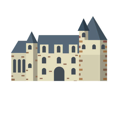 Castle. Travel to Europe. Stone Palace with tower and wall. Medieval house and city. Flat cartoon illustration