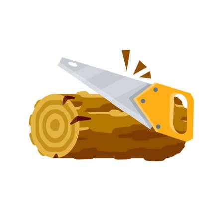 Saw cuts wood.