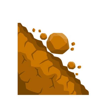 Rock rolls off a cliff. Vector Illustration