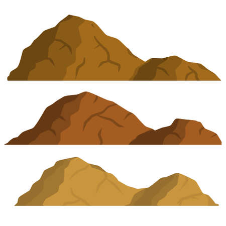Mountain. Brown landscape. Element of nature and desert. Rocks and stone. Flat cartoon illustration 일러스트