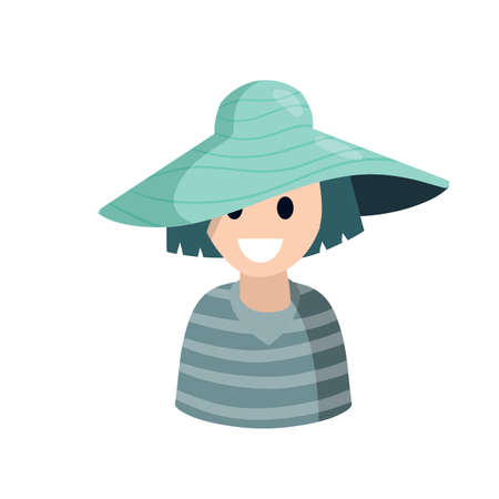 Young woman in fashionable summer hat. Smiling girl. Avatar for the social network. Female character. Flat cartoon illustration