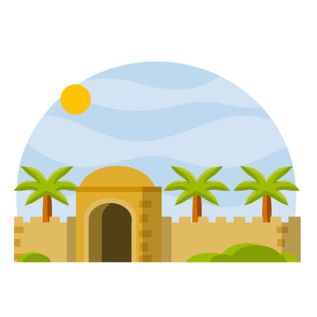 Islamic medieval old landscape with palm trees. Cartoon flat illustration. Muslim architecture. Tower and walls