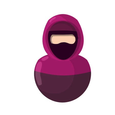 Arab woman in niqab. Avatar of Muslim girl covered with scarf for social network profile without face. Eastern islam culture and clothing. Flat icon illustration for app