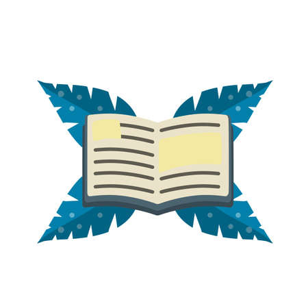 Reading and education. Icon for storytelling and education. Green leaves of the plant. Hobby icon. Cartoon flat illustration isolated on white