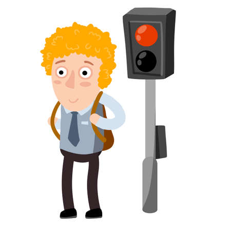 Funny red kid isolated on white background. Traffic rules and lights. Schoolboy with backpack.