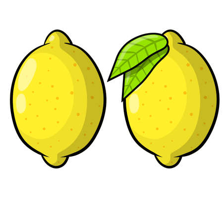 Limon. Yellow sour fruit. Set of objects with vitamin C. Green leaf. Cartoon flat illustration isolated on white. 向量圖像