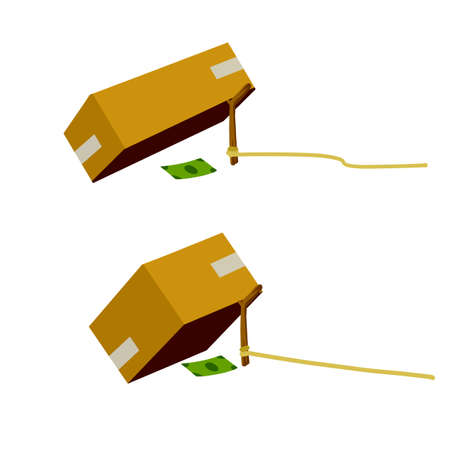 Cardboard box and trap. Children practical joke. Dollar and pitfall. Business problem. Stick on rope. Flat cartoon. Concept of financial problem. Funny comic money bait