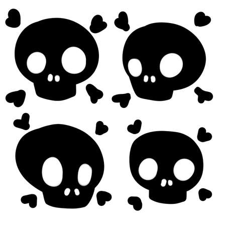 Set of funny skulls. Scary element of Halloween. Death head. Cartoon flat illustration. Black human bones on white background. Danger icon