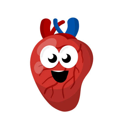 Heart. Human internal organ. Medicine and cardiology. Happe character and funny cute smile mascot. Cartoon flat illustration 向量圖像