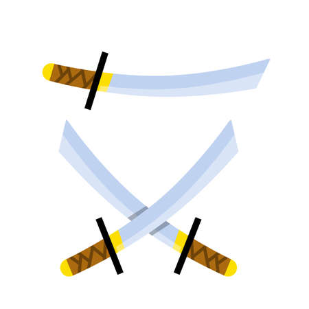 Japanese sword. Long katana. Weapons of Eastern ninja warrior and samurai. Medieval the object is soldier. Crossed Weapon with blade. Cartoon flat illustration