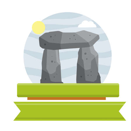 Stonehenge. English landmark. Structure is made of old stones. Historical place, block and boulders. Green grass and summer pagan temple. Flat cartoon. Religious megalith of primitive man