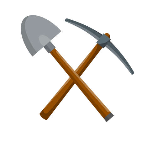 Pick and shovel. Miner and digger tool. Items for extraction of minerals. Cartoon flat illustration. Logo of Labor and work. Rural tool. Iron pickaxe Logo