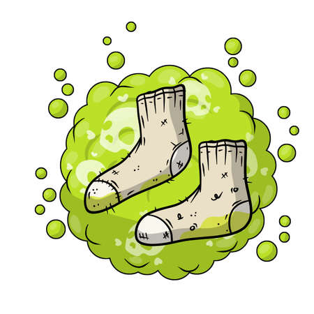 Dirty sock. Sloppy clothes. Stinky toe. Gray Object for washing. Cartoon flat illustration. Green bubble acid cloud. Smelly feet. Bad stench Vectores