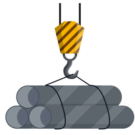Crane with iron pipes. Industrial Cargo on hook. Lifting objects. Item of plant and port. Technical Transportation and storage. Mechanism with a rope. Cartoon flat illustration