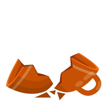 Shards and sloppy handling. Cartoon flat illustration isolated on white background