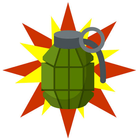 Weapons and bombshell. Red flash. Soldier's equipment and ammunition. Element of modern warfare. Cartoon flat illustration. Detonation and impact  イラスト・ベクター素材
