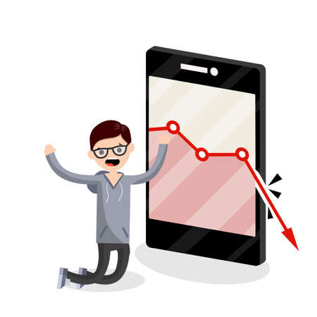 Large mobile phone with falling red business graph. Sad young blogger guy on knees. decrease in views and subscribers. Internet statistics. Business problem. man and a smartphone. Flat illustration