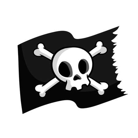 Pirate flag. Skull and bones on black ribbon. element of death. Emblem and symbol of theft and robber. Cartoon flat illustration. jolly roger