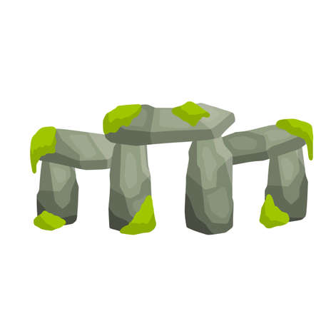 Stonehenge. English landmark. Structure is made of old stones. Historical place, block and boulders. Flat cartoon. Green moss and grass. Religious megalith of primitive man Иллюстрация