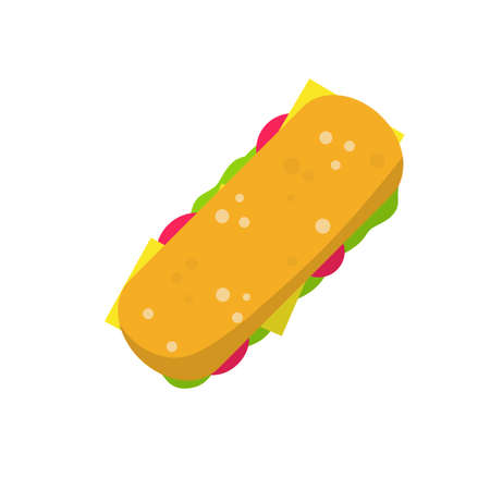 Sandwich and Long burger with meat and vegetables. Cartoon flat illustration. Ciabatta bread. Street food and fast food element