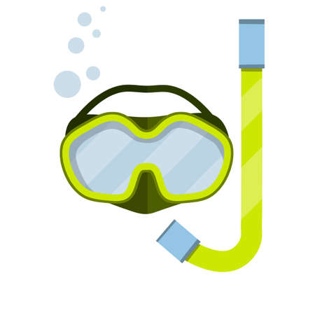 Scuba gear. Snorkel and glasses. Rest and entertainment in sea and ocean. Clothing of diver. item for diving and swimming under water. Cartoon flat illustration Stock Illustratie