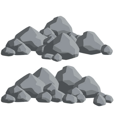 Natural wall stones and smooth and rounded gray rocks. Element of forests, mountains and caves with cobblestone. Cartoon flat illustration
