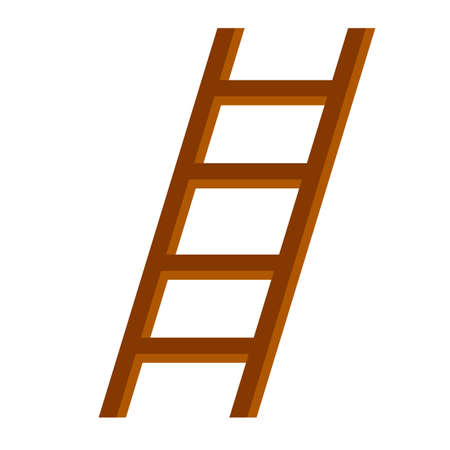 Wooden brown stairs. Go up to the top level. Straight and inclined objects. Rustic country equipment