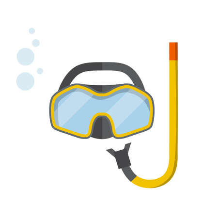 Scuba gear. Snorkel and glasses. Cartoon flat illustration. Rest and entertainment in sea and ocean. Clothing of diver. item for diving and swimming under water Stock Illustratie