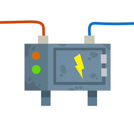 Switchboard. Electrical wires in box. High voltage sensor. Technical industrial appliance. Danger sign - yellow lightning. Current switch. Cartoon flat illustration. Fuse and electrical engineering 向量圖像