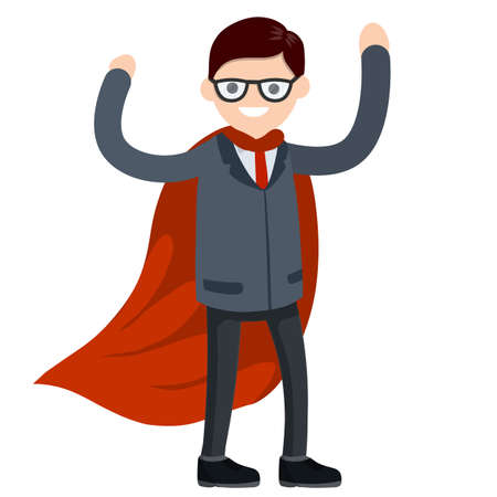 Businessman. Cartoon flat illustration. Superhero in red cloak. Man in strong pose and suit. Success and victory in business Vektorgrafik