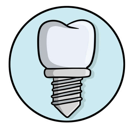 Tooth pin. White Dentist element. Dental care and implant. Medical white part with the thread for the mouth. Operation for health. Doctor job. Color Cartoon illustration