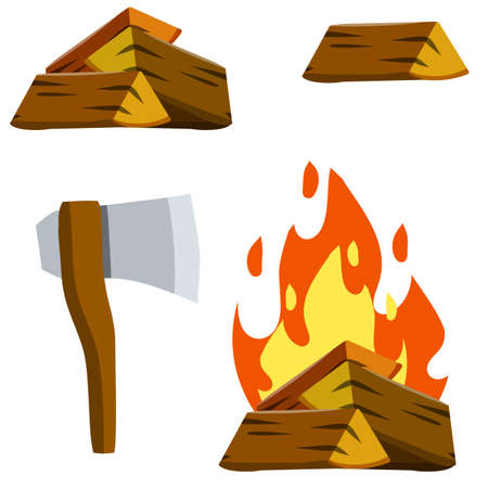 Fire and wood. Tourist camp. Ax for chopping logs. Element of summer activity and Hiking. Brown rustic firewood and campfire. Cartoon flat illustration isolated on white
