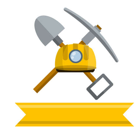 Cartoon flat illustration. Industrial yellow helmet with flashlight. Rural tool. Iron pickaxe. Items for extraction of minerals.