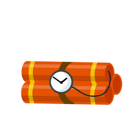 Dangerous elements. Yellow flash. Blast and fire. Cartoon flat illustration. Set of TNT block with clock