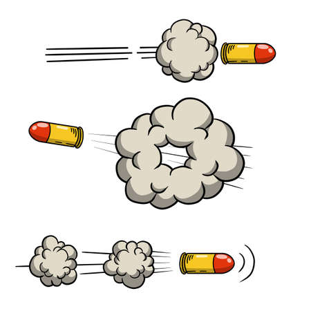 Shot from gun. Flying Bullet. Set Funny comic element. Cloud and smoke. Hand drawn shot. Cartoon illustration. Line and trace 일러스트