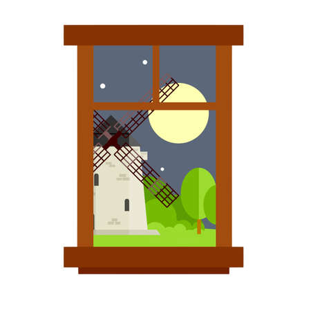 Rustic view of the green meadows, landscape and the Dutch mill. Element of the interior rural house. Night village life. The window at the countryside. Cartoon flat illustration Ilustracja
